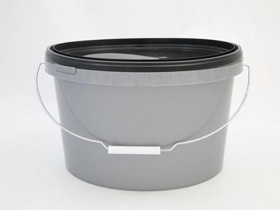 Ovale emmer grijs 12,5 ltr + deksel