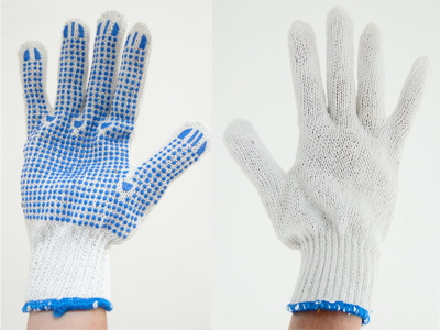 Handschoen met blauwe PVC nop