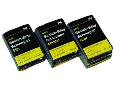 Scotch brite middel 3M p.pak van 10 stuks